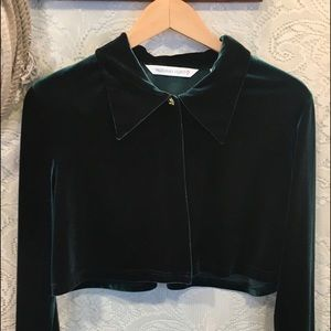 Dark Forest Green cropped velvet jacket size M